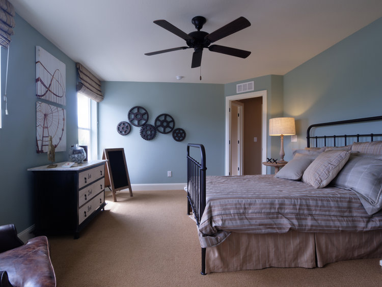 Modern kids room with blue walls